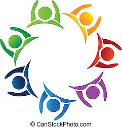 logo, collaboration, haut, mains