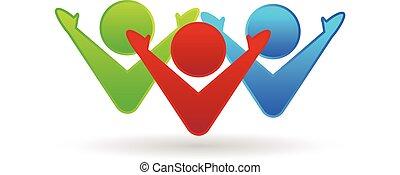 logo, collaboration, heureux, association