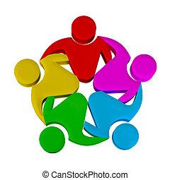 logo, collaboration, média, social