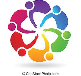 logo, collaboration, poignée main