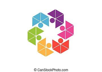 logo, collaboration, résumé, gens, unité