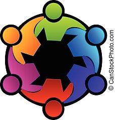logo, collaboration, réunion, étreindre, gens