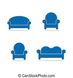 logo, collection, gabarit, sofa