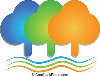 logo, coloré, arbres, vagues