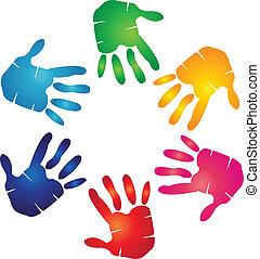 logo, coloré, mains