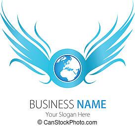 logo, compagnie, conception, ailes, la terre