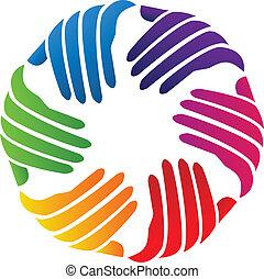 logo, compagnie, vecteur, mains, charité