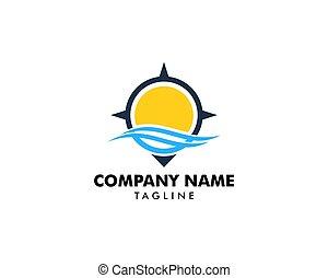 logo, compas, conception, océan, élément