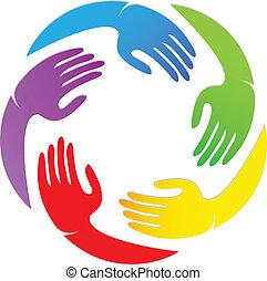 logo, conception, autour de, mains