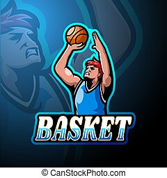 logo, conception, esport, basket-ball, mascotte