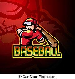 logo, conception, esport, joueur base-ball, mascotte