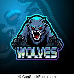 logo, conception, esport, loups, mascotte