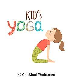 logo, conception, isolé, gosses, yoga