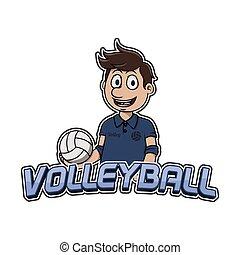 logo, conception, volley-ball, illustration