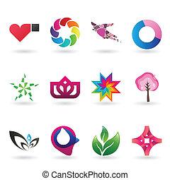 logo, contemporain, collection, icône