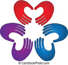 logo, couleurs, collaboration, mains