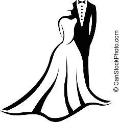 logo, couple, mariage