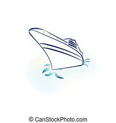 logo, croisière, bateau