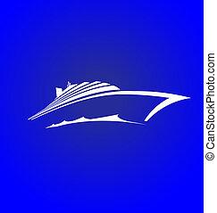 logo, croisière, mer