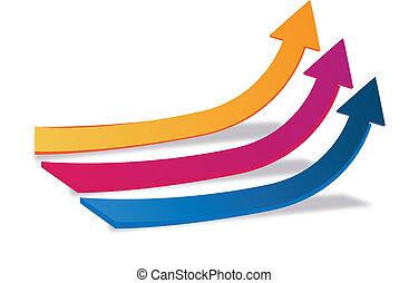logo, croissance, flèches, business