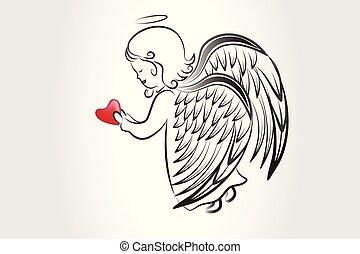 logo, croquis, amour, icône, coeur, prier, vecteur, image, typon, ange