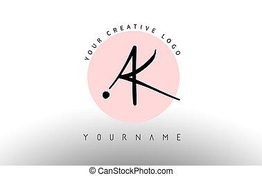 logo, design., arrondi, lettrage, manuscrit, cercle, ak, arrière-plan rose, k, lettres