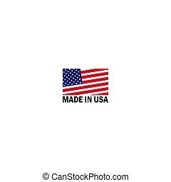 logo, drapeau, américain, vecteur, icône, usa, fait