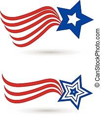 logo, drapeau, ensemble, étoile, américain