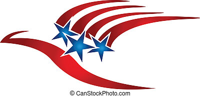 logo, drapeau, oiseau, usa