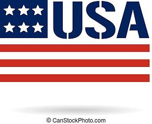 logo, drapeau, usa