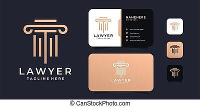 logo, droit & loi, conception, luxe, justice, vecteur, concept, or