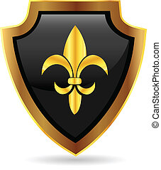 logo, emblème, bouclier, or