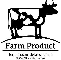 logo, emblème, vache