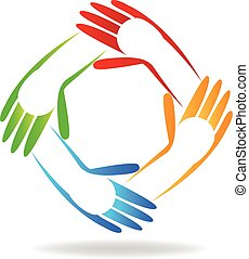 logo, enfants, mains