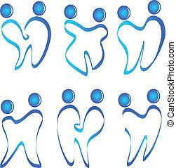 logo, ensemble, vecteur, figures, dents