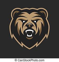 logo, fâché, ours, symbole.