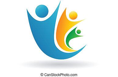 logo, famille, équipe