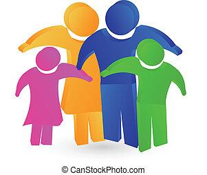 logo, famille, concept