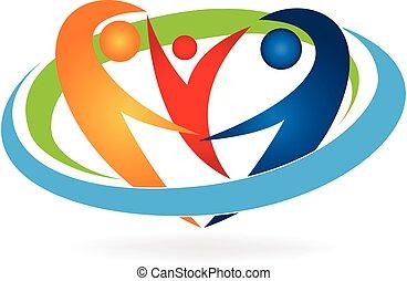 logo, famille heureuse