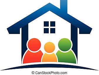 logo, famille, maison