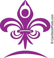 logo, farine, yoga, figure, lis