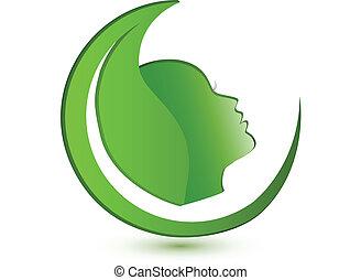 logo, femme, feuille, figure