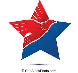 logo, flag-eagle, américain, étoile