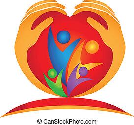 logo, forme coeur, famille, mains