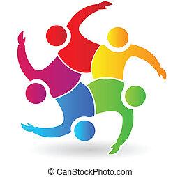 logo, gens, 5, étreindre, collaboration