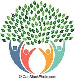 logo., gens, ambiant, arbre