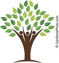 logo, gens, arbre, groupe