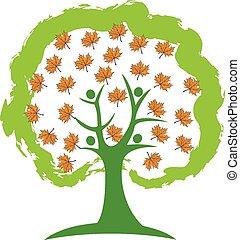 logo, gens, arbre, saison