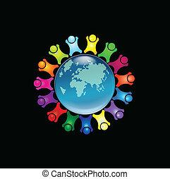 logo, gens, autour de, mondiale
