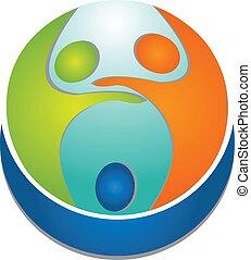 logo, gens, collaboration, autour de, mondiale